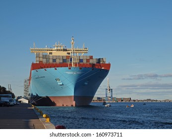 COPENHAGEN - SEPTEMBER 29: Majestic Maersk, one of the worlds largest container ship makes a once in a lifetime guest appearance at Copenhagen harbour in Denmark, on September 29, 2013