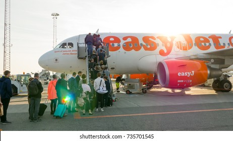 Copenhagen, September 8, 2017: Que of passengers of EasyJet airline boarding to the plane