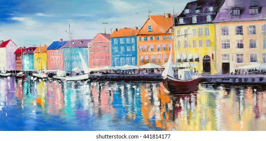 """Copenhagen in a shining day, colorful buildings and cafes, some boats on the water """"By reflections"""", original oil painting"""