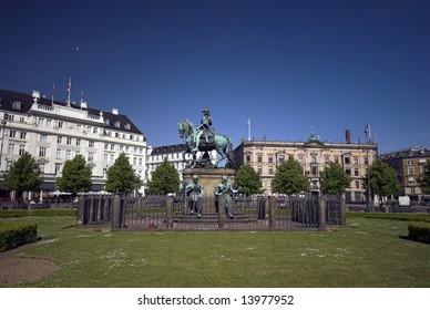 Copenhagen Town Square -?? In Danish:  Kongens Nytorv,  with Christian V. on horse â?? from year 1688