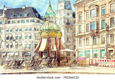 Copenhagen in watercolors: old kiosk and first public telephonic connection from 1913 in Baroque Revival style at Kongens Nytorv, now coffee bar