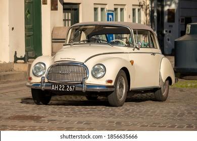 Copenhagen, Zealand Denmark - 17 10 2020: Retro Car Audi 1000 in Nyhavn street Copenhagen center