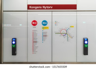 Copenhagen, Zealand Denmark - 29 9 2019: Metro lines map in Kongens Nytorv Station M3 M4 Cityringen metro line in Copenhagen