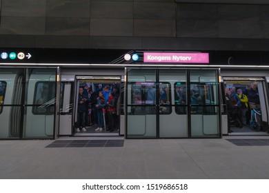 Copenhagen, Zealand Denmark - 29 9 2019: People trying new M3 Cityringen metro line. Kongens Nytorv Station.
