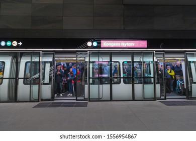 Copenhagen, Zealand Denmark - 29 9 2019: People trying new M3 Cityringen metro line. Kongens Nytorv Station