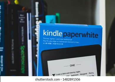 Copenhagen, Zealand / Denmark - August 19 2019: Kindle Paperwhite from Amazon in unopened package and opened