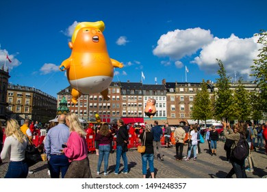 Copenhagen, Zealand / Denmark - September 2 2019: Donald Trump Babytrump balloon flying over Kongens Nytorv in Copenhagen