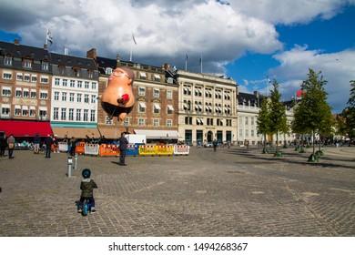 Copenhagen, Zealand / Denmark - September 2 2019: Balloon of Danish politician Martin Rossen with Mette Frederiksen in his hand flying over Konegens Nytorv