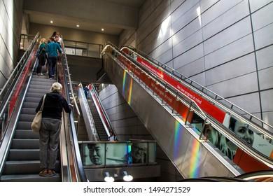 Copenhagen, Zealand / Denmark - September 2 2019: Rainbow lights in public metro in Kongens Nytorv Copenhagen