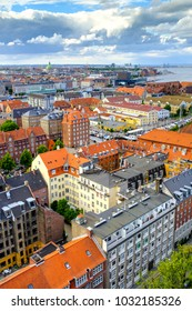 Copenhagen, Zealand region / Denmark - 2017/07/26: city center - panoramic aerial view of the central Copenhagen and outskirts in the background