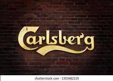 Copenhagen/Denmark; 02/16/2016. Carlsberg district. The old factory of Carlsberg breweries in Copenhagen. The name on the wall.