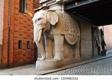 Copenhagen/Denmark; 02/16/2016.Carlberg district. Carlbersg breweries. The old factory of Carlsberg beer in Copenhagen. The elephant sculpture of the elephant tower.