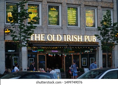Copenhagen/Denmark - 17 June 2019: The Old Irish Pub in Copenhagen. Irish pub, frontal view to the old facade of an antique pub.