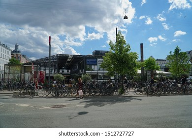 Copenhagen/Denmark - 21 June 2019: Street in the city.  One of the symbolic scenes in this bicycle friendly capital.