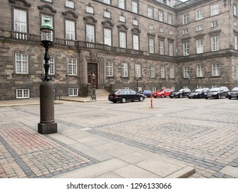 Copenhagen/Denmark - November 01 2015: The courtyard of Christiansborg Palace. Christiansborg Palace is a palace and government building on the islet of Slotsholmen.