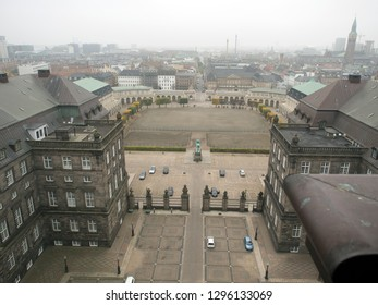Copenhagen/Denmark - November 01 2015: The courtyard of Christiansborg Palace seen from the tower. Christiansborg Palace is a palace and government building on the islet of Slotsholmen.