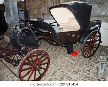 Copenhagen/Denmark - November 01 2015: Old carriage at the Royal Stables and Carriages of Denmark. The Royal Stables are located at Christiansborg Palace on the island of Slotsholmen