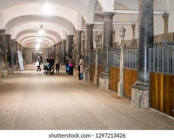 Copenhagen/Denmark - November 01 2015: The Royal Stables and Carriages of Denmark.  The Royal Stables are located at Christiansborg Palace on the island of Slotsholmen