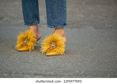 Copenhagen,Denmark-August 11 2018: Tine Andrea in exclusive mustard yellow Tory Burch shoes  outside Ganni show during Copenhagen fashion week Spring/Summer 2019.