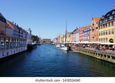 Copenhagen,Denmark-June 4,2019: The beautiful landscape of Nyhavn river area in the heart of Copenhagen.