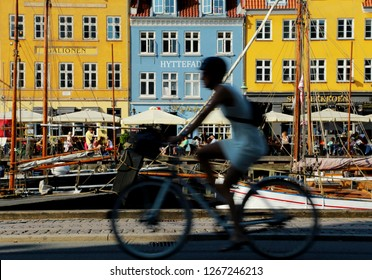 Copenhagen/Denmark-May 31st, 2018: Bicycles and colorful buildings are very famous in and around Nyhavn and Copenhagen.