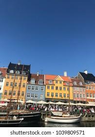 COPENHAGUEN, DENMARK - JULY 13, 2017: Coloured houses in Nyhavn, one of the most famous channels in Copenhaguen