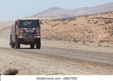 COPIAPO - JANUARY 11: Teruhito Sugawara from Japan riding his truck during his participation on Rally Dakar 2011 Argentina Chile, January 11 in Copiapo Chile.