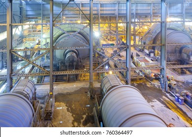 Copiapo, Region de Atacama, Chile - Ball mills at Candelaria Copper Mine in the mining region of northern Chile.