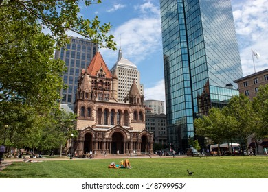 Copley Square in Boston with Trinity Church and 200 Clarendon/Hancock Tower in the background.
