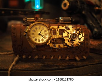 Copparo, Italy - September 21, 2018. Exhibition of steampunk style objects. Watch.