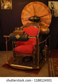 Copparo, Italy - September 21, 2018. Exhibition of steampunk style objects. Time Machine.