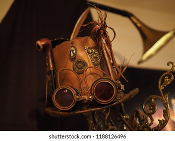 Copparo, Italy - September 21, 2018. Exhibition of steampunk style objects. Hat and glasses.