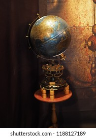 Copparo, Italy - September 21, 2018. Exhibition of steampunk style objects.  Globe.