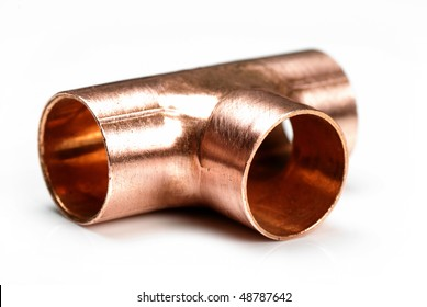 Copper 15mm tee plumbing fitting isolated on white