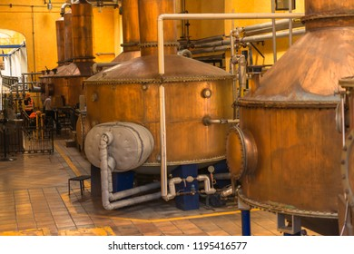 Copper alembics for the distillation of tequila.