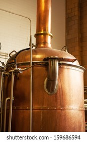 Copper boil kettle in the American brewery