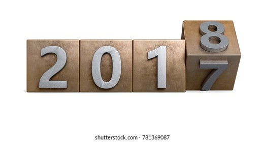 Copper bronze 2017 box rotating to 2018 metal texture. New Year concept Isolated on white background. 3D Rendering, Illustration.