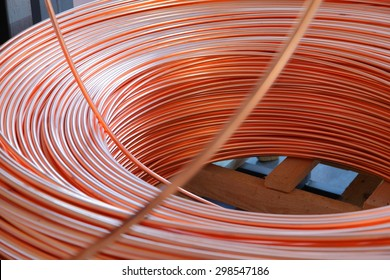 Copper cable factory. Background abstract