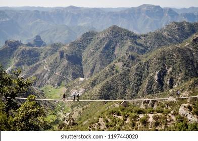 Copper Canyon in Chihuahua, Mexico. Suspension bridge.