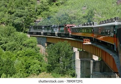 Copper Canyon, Mexico - September 8, 2017: Riding the CHEPE train through north Mexico