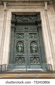 Copper carving on doors at St Isaac's Cathedral in St Petersburg, Russia
