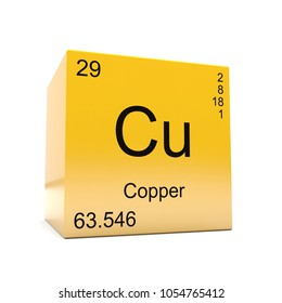 Copper symbol cu element periodic table stock illustration 108071954 copper chemical element symbol from the periodic table displayed on glossy yellow cube 3d render urtaz Image collections