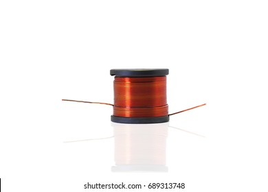 Copper coil, Ferrite core inductor on white background. passive two-terminal electrical component that stores electrical energy in a magnetic field.