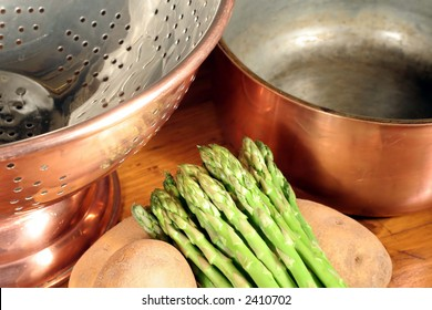 Copper Cookware and Vegetables