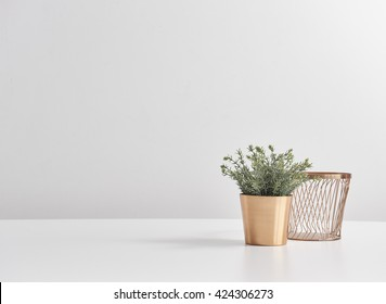 copper cup and basket behind empty layout
