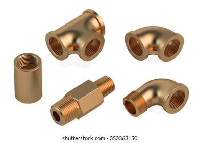 copper fittings for plumbing pipes isolated on white background