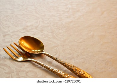 Copper fork and spoon backgrounds, Abstract.