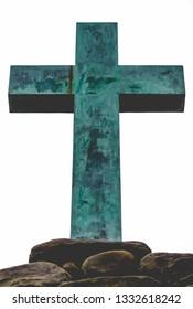 Copper Green Cross on Rock