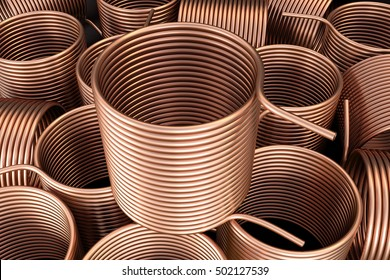 Copper heat exchanger. 3d illustration.