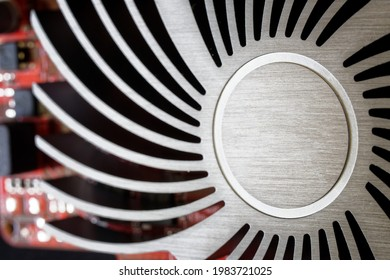 Copper heatsink for cooling modern silent graphics cards. No cooler. Passive cooling. Macro. Close-up